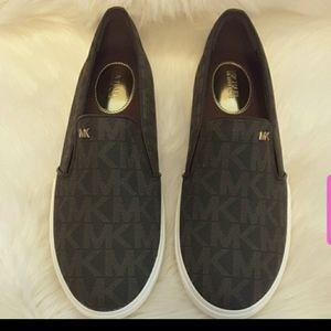 Michael Kors Keaton Slip on brown logo shoes